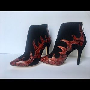 Jimmy Choo RARE Fire Ankle Bootie Heel Suede